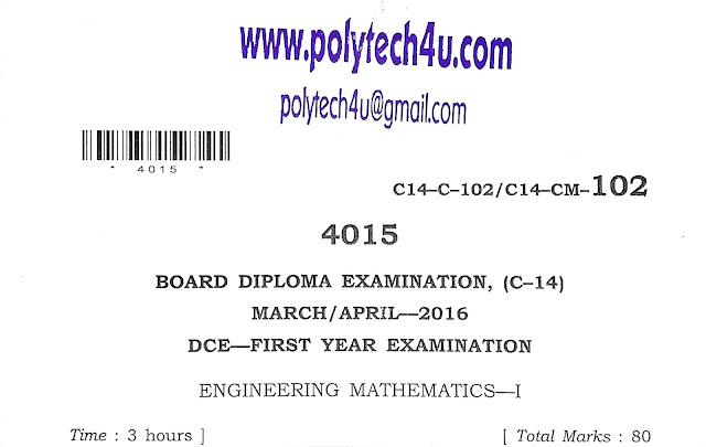 POLYTECHNIC MATHEMATICS-1 MODEL PAPER C-14- SBTETAP