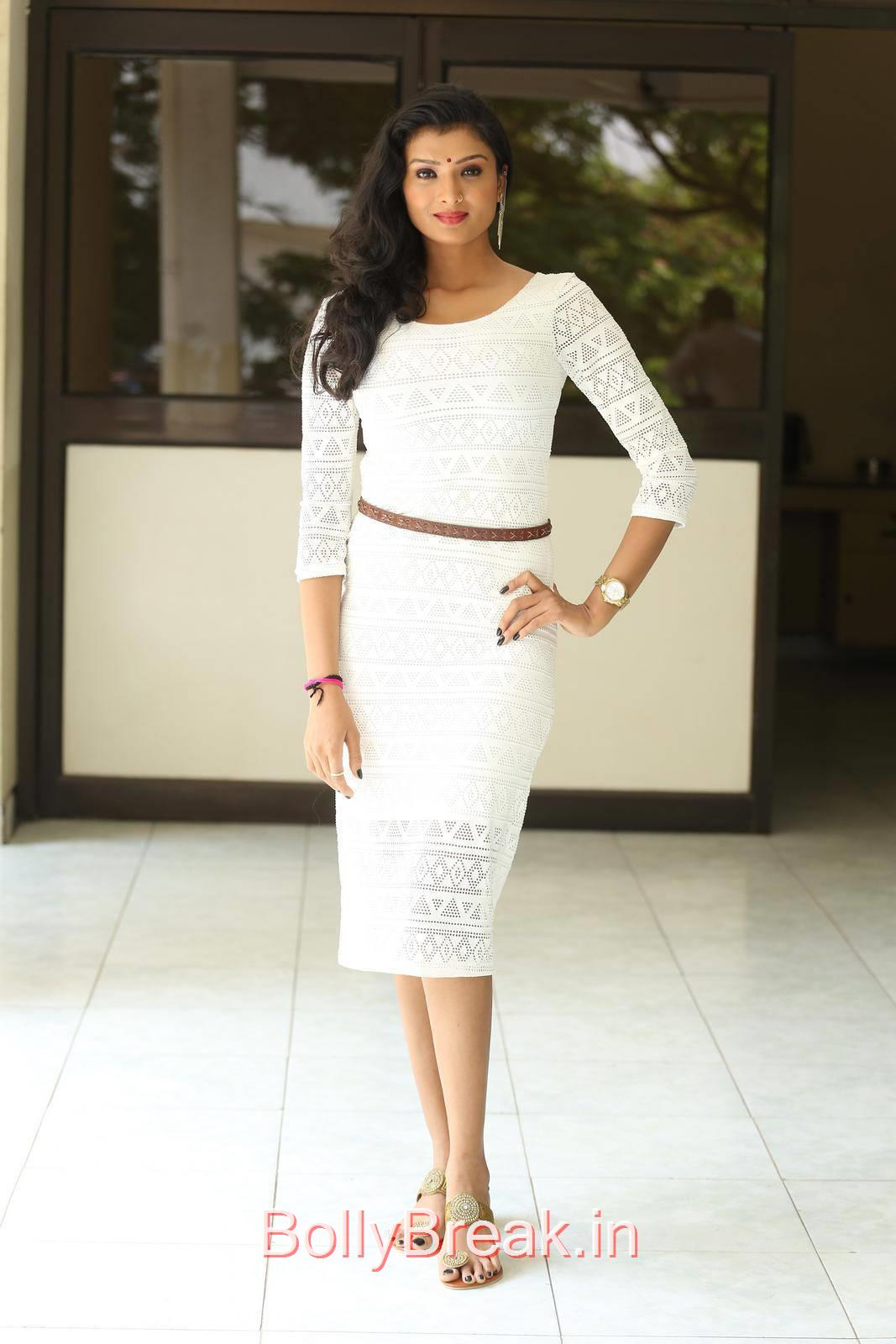 Ishita Photo Gallery, Actress Ishita Standing Full Size HD Hot Pics in White Dress