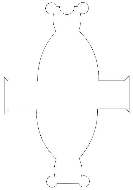 Molde en blanco de cajita con forma de vestido.