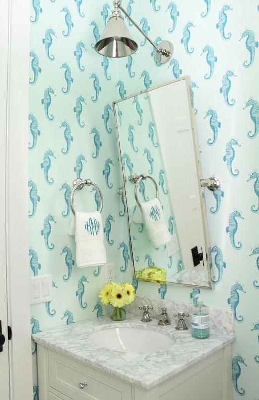 Seahorse Wallpaper Powder Room