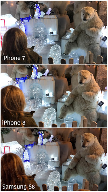 3 images of a young girl looking at a Christmas scene with moving polar bears and Christmas lights