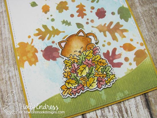 Autumn Cat Card by Holly Endress | Autumn Newton Stamp Set and Falling Leaves Stencil by Newton's Nook Designs #newtonsnook