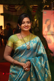 Actress Indraja Stills in Blue Silk Saree at Shatamanam Bhavathi Audio Launch  0014.JPG