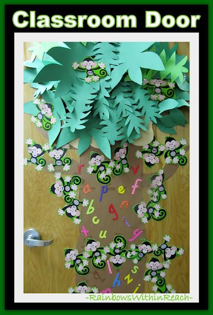 photo of: Classroom Door Decoration with Monkey Theme via RainbowsWithinReach