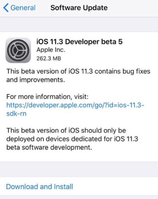 ابل تطلق iOS 11.3 بيتا 5