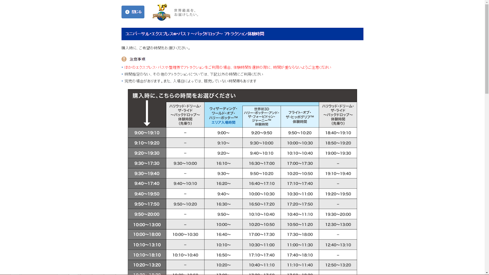 Screenshot of Universal Studios Japan ticket shop - time slots explanation