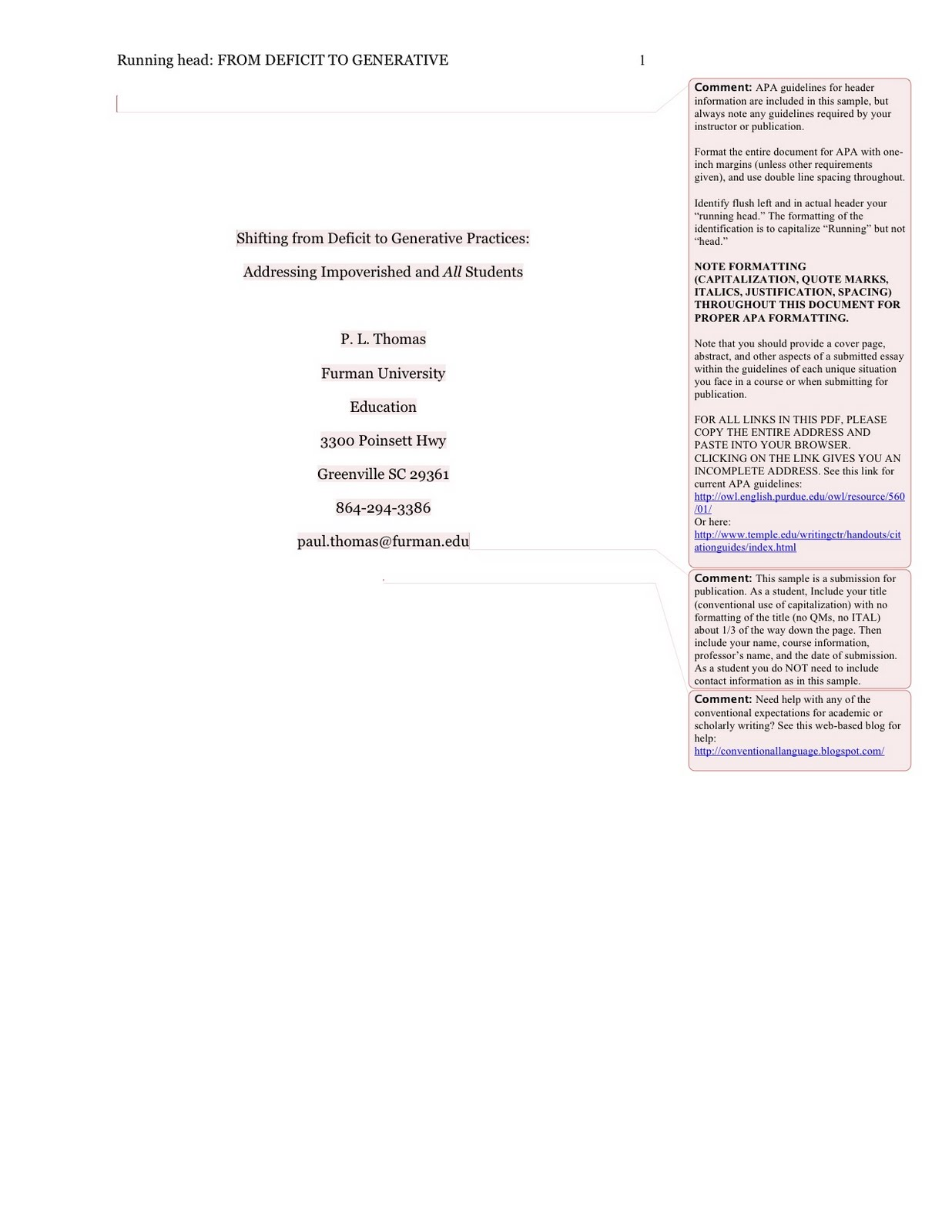 apa first page example