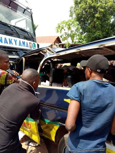 Trailer Crushes Commercial Bus In Enugu