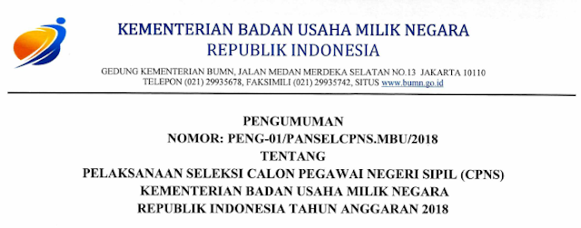Surat Pengumuman Rekrutmen CPNS 2018 Kementerian BUMN.Pdf
