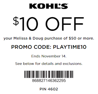 Kohl's coupon: $10 off $50 Melissa & Doug Nov 2016