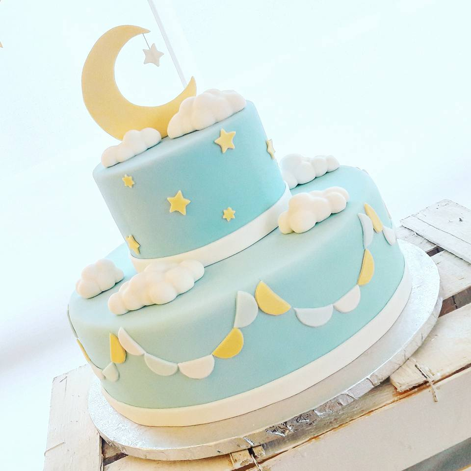 Zuccherosamente torta battesimo bimbo luna e stelle - Decorazioni battesimo bimbo ...