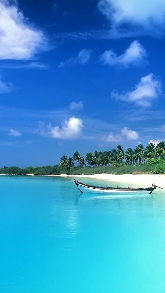 Small Boat On The Blue Sea   Galaxy Note HD Wallpaper