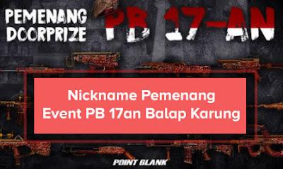 Daftar Lengkap Nama (Nickname) Pemenang Event PB Garena Balap Karung 17an