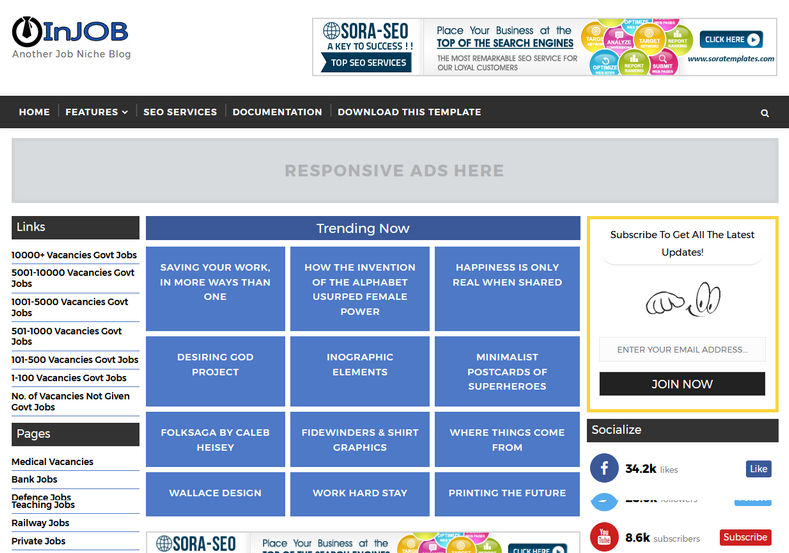 Injob blogger template blogger templates gallery for Video blogger template