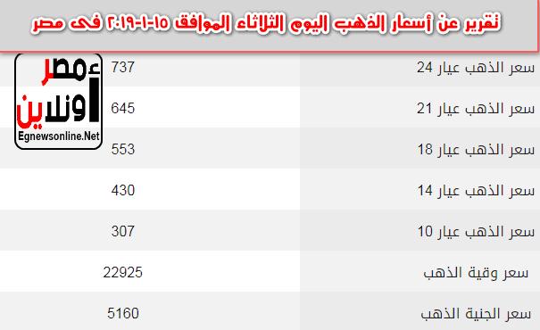 تقرير عن أسعار الذهب اليوم الثلاثاء الموافق 15-1-2019 فى مصر