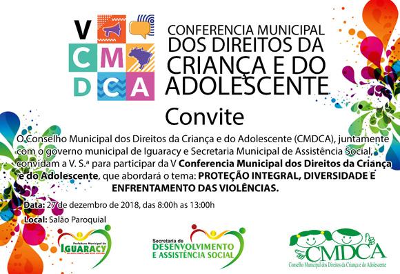 CONVITE: Conferência dos Direitos da Criança e do Adolescente de Iguaracy acontece nesta quinta (27) no Salão Paroquial. Todos são convidados!