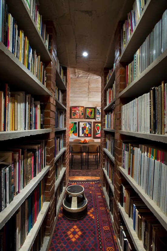 Safari Fusion blog | Library style | Brick and concrete modern industrial book shelves in a Pierneef [Pretoria] residence, South Africa