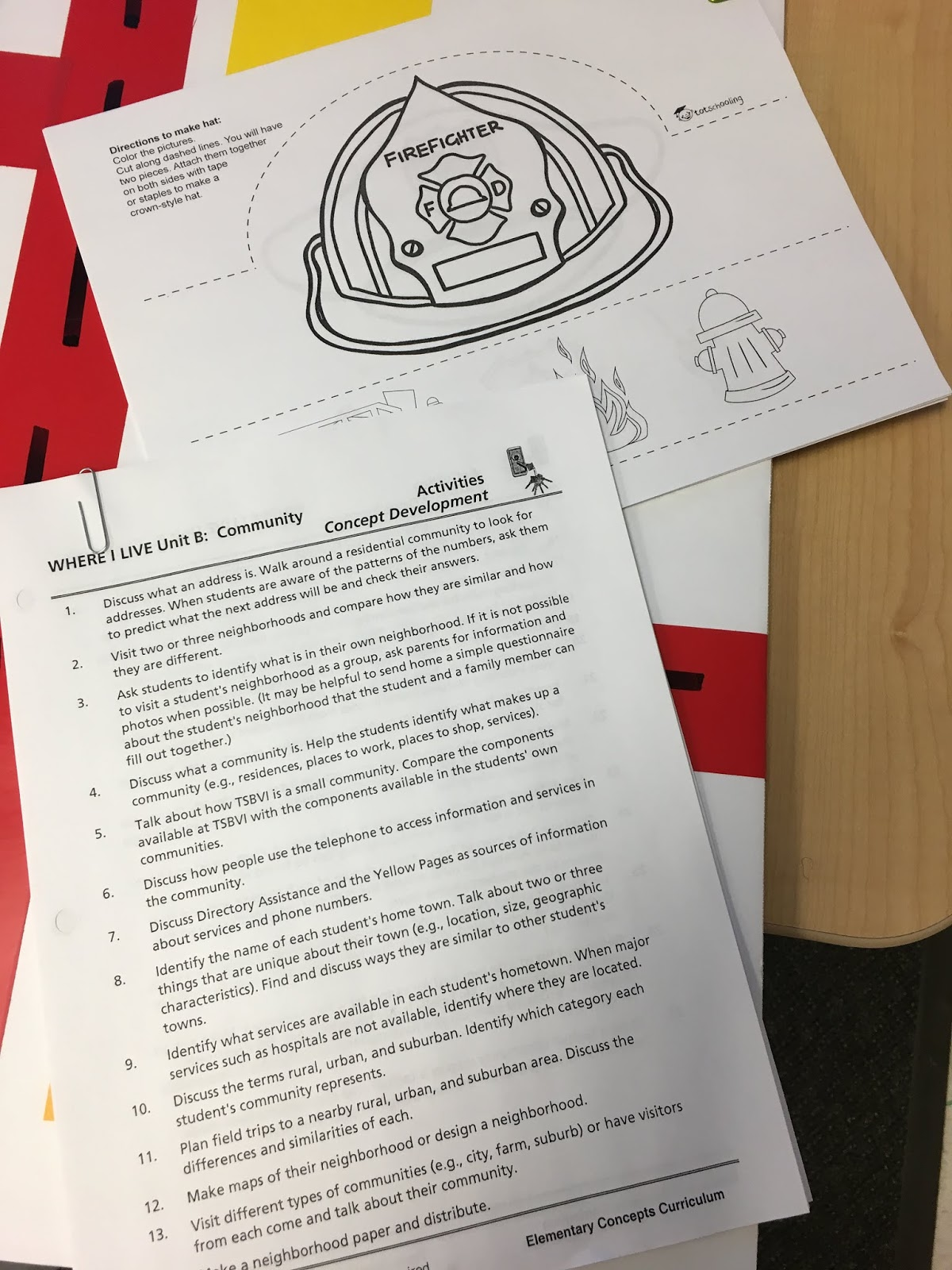 A picture of the Elementary Concepts community partners unit and the templates for the cut and color headbands