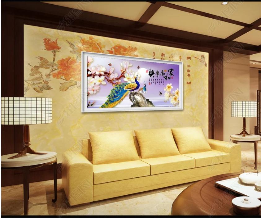 Trnh dán tường 3d khổng tước hoa phong lan
