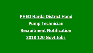 PHED Harda District Hand Pump Technician Recruitment Notification 2018 120 Govt Jobs