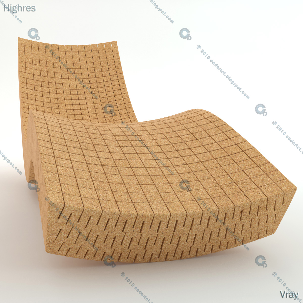 cadartet cork chaise longue 3d model 3dsmax vray mental ray daniel michalik