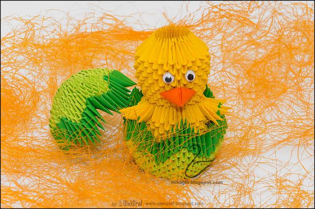 378. Kurczak w zielonej skorupce / 3d origami Easter chick