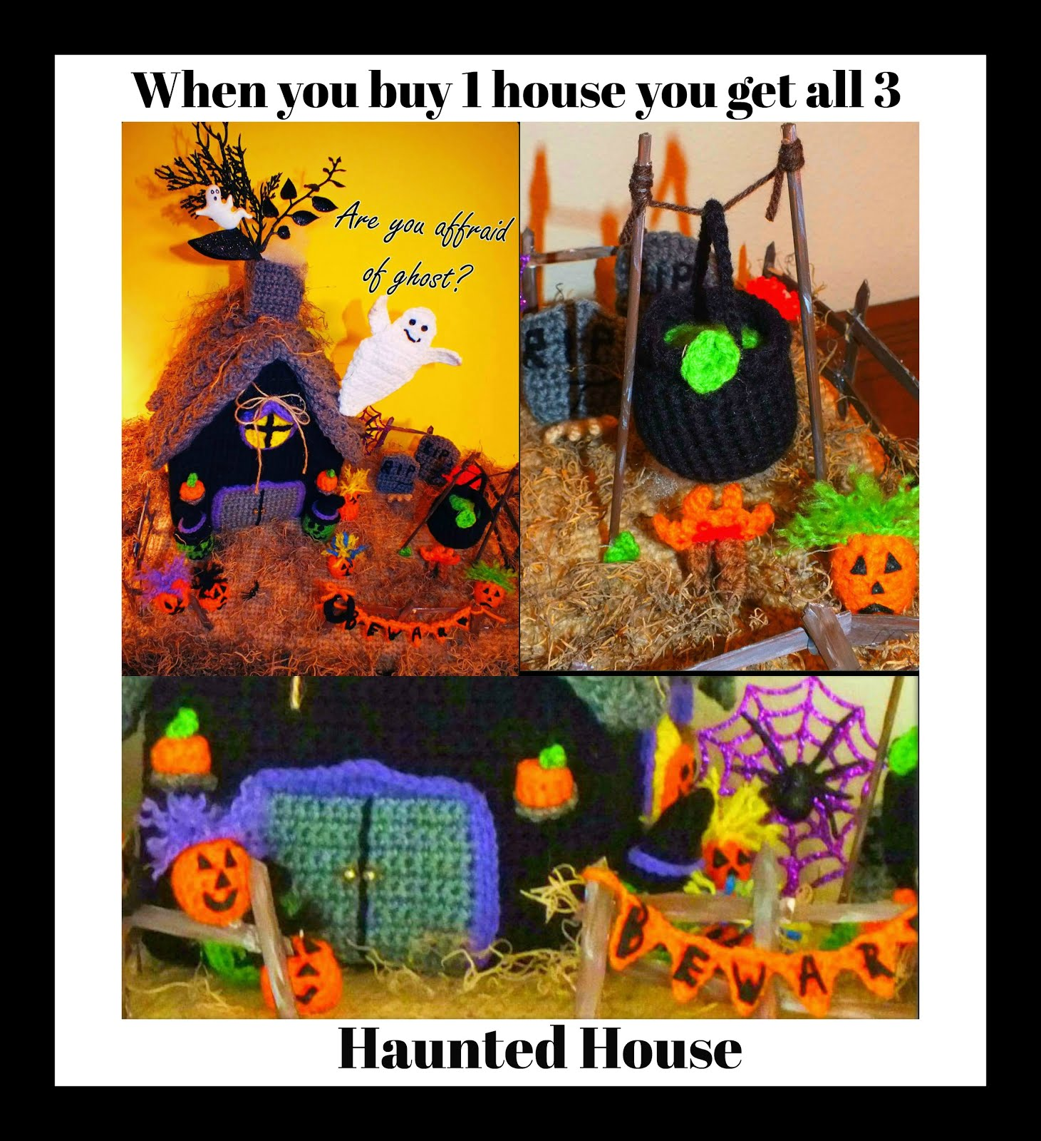Crochet Halloween Haunted House +Christmas Gingerbread +Connie's Portable Doll House Patterns©