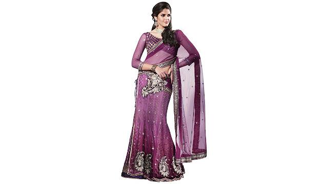 MAHOTSAV Self Design Fashion Net Saree  (Multicolor)