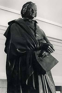 Bronze statue of Beethoven by Thomas Crawford, standing in lobby of the original main entrance to Jordan Hall on Huntington Avenue