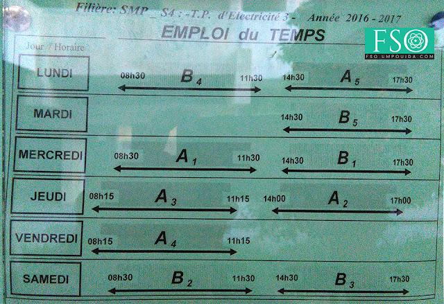 SMP S4 : Emploi du temps TP Électricité 3