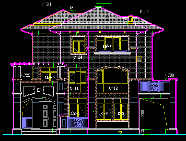 Villa cad block elevation Green house building dwg