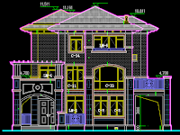 Villa cad block elevation, Green house building dwg drawing autocad