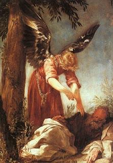 Nomes bíblicos estrangeiros masculinos com E - Imagem: Anjo acorda o profeta Elias - Juan Frias
