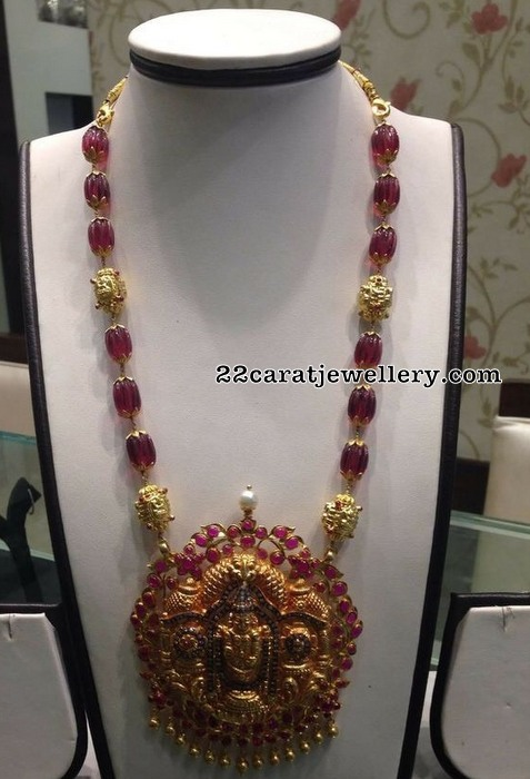 Ruby Beads Haram Lord Balaji Pendant