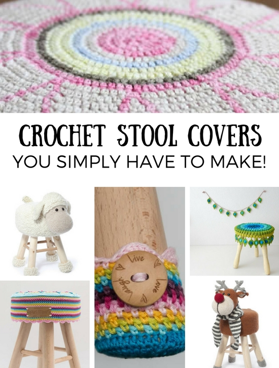 Crochet stool covers you simply have to make, crochet stool covers patterns | Happy in Red