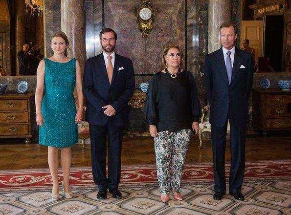 Grand Duke Henri, Duchess Maria Teresa, Prince Guillaume and Duchess Stéphanie hosted a garden party. Princess Stéphanie wore Elie Saab dress