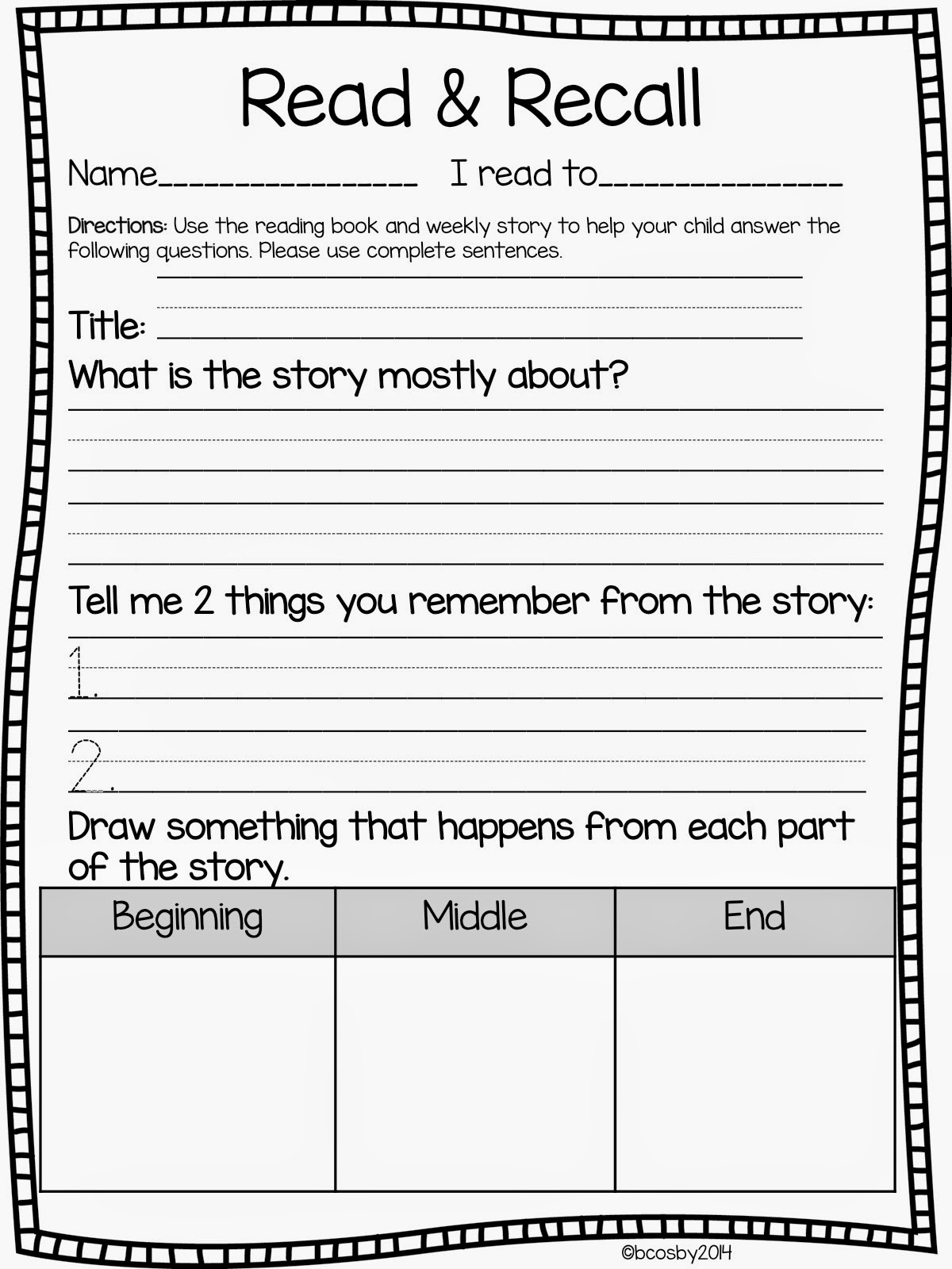 Classroom Freebies Read And Recall Freebie Update