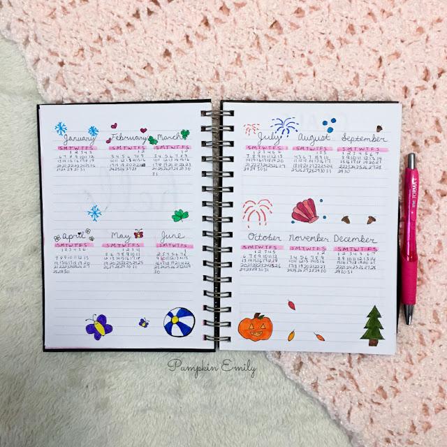2019 Bullet Journal Monthly Log Calendars