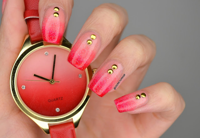 Avon Watch Red Gradient Nail Art