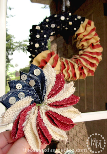 Mini Patriotic Wreath Pin and Patriotic ruffled wreath