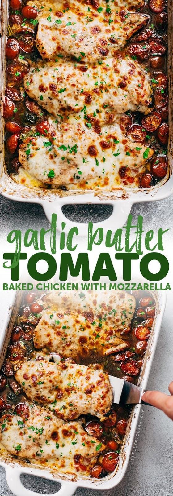 Garlic Butter Tomato Baked Chicken With Mozzarella