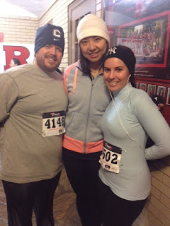 "My husband, friend, and me before our ""Big Chill"" running 5k race"