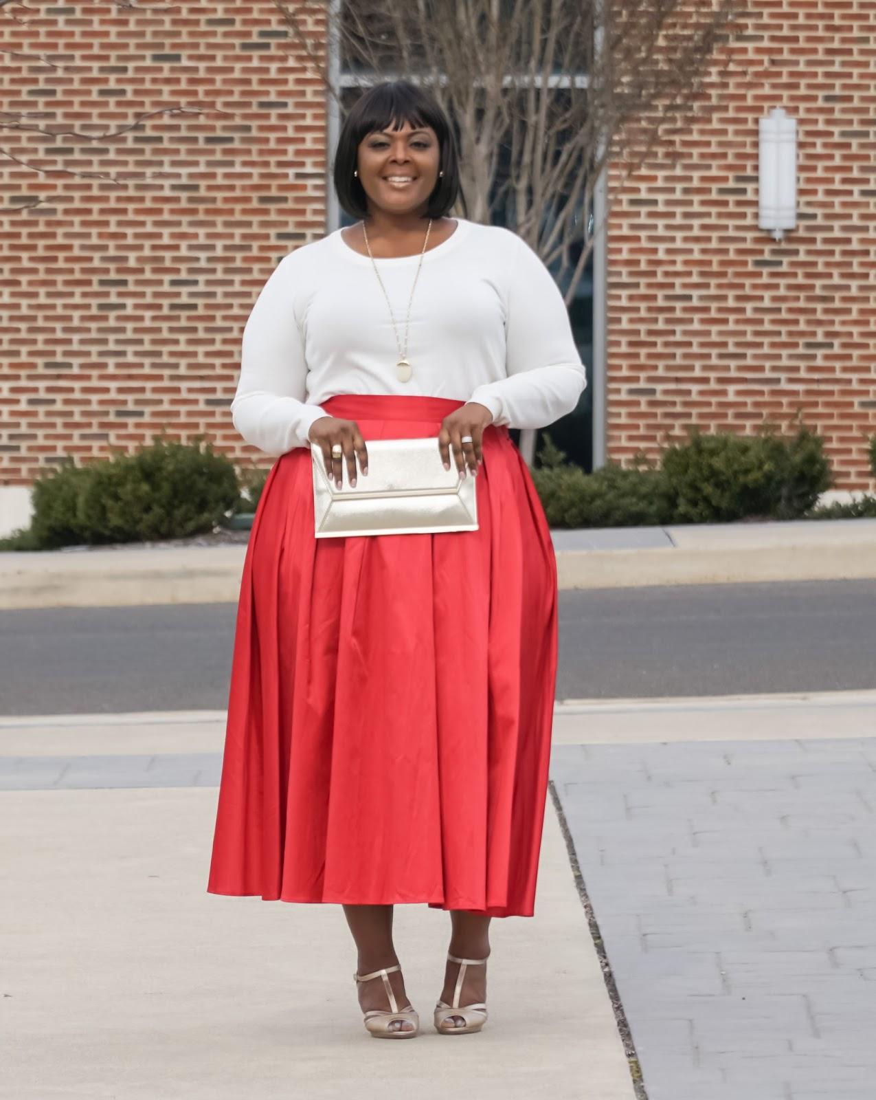 plus size red skirt, eloquii skirt