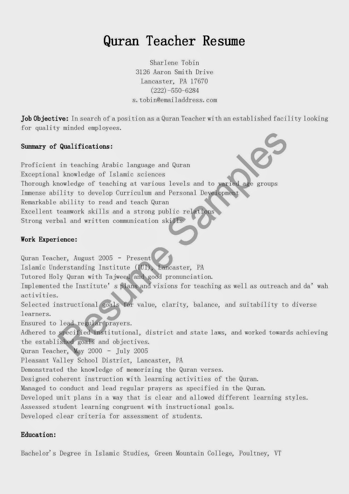 resume samples  quran teacher resume sample
