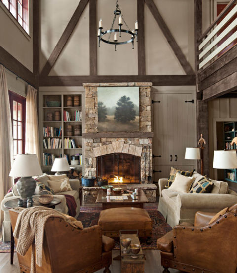two sofas facing each other rustic fireplace Country Living