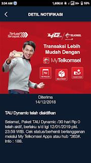 Tutorial Mendapatkan Paket Tau Dynamic Plan Gratis Kouta Internet 13+GB 3