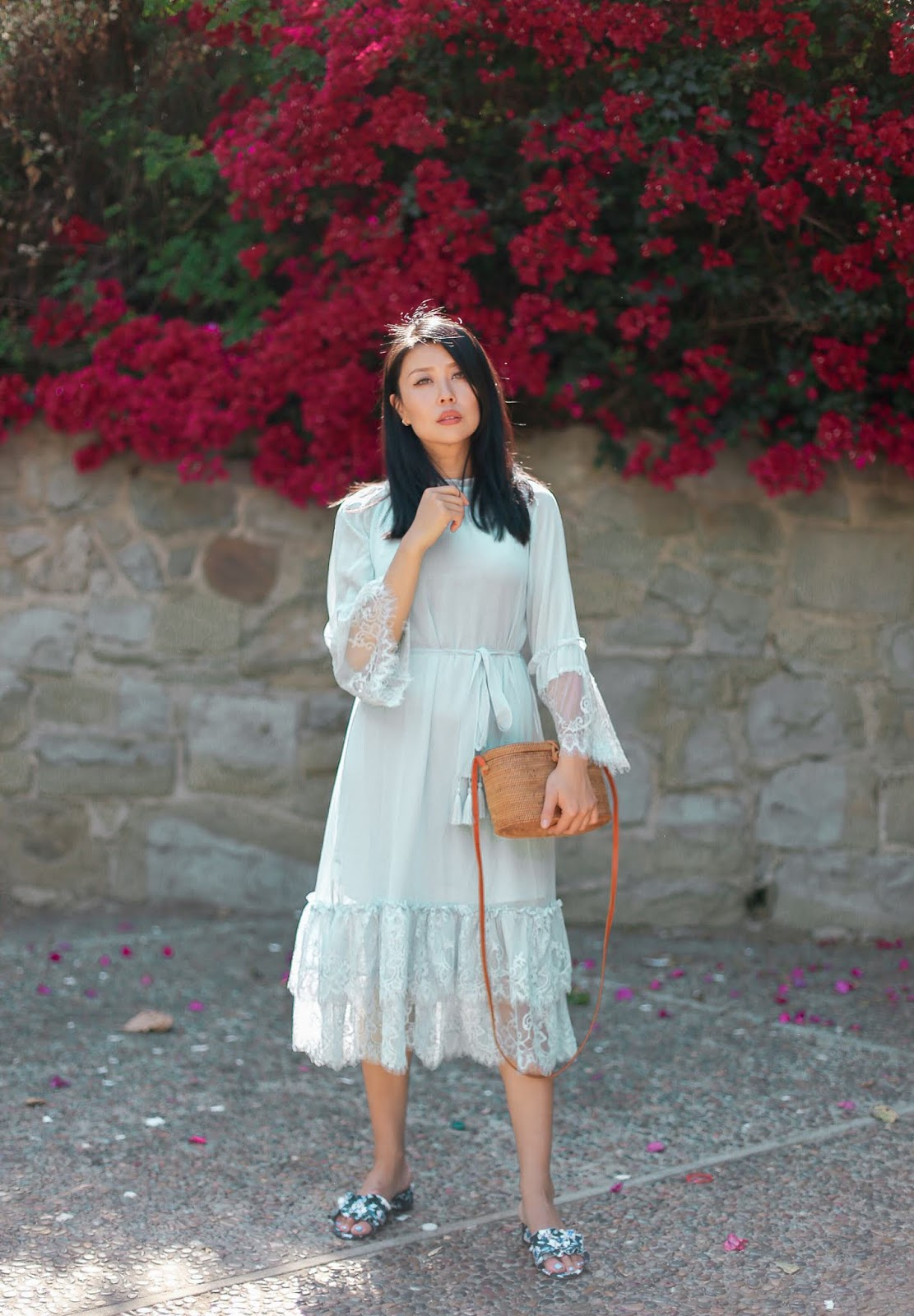 summer pastel blue dress outfit inspiration