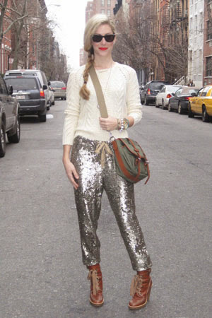 sequin pants and sweater