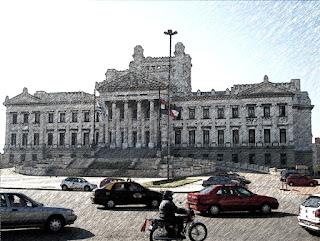 Escadaria da Assembleia Legislativa, em Montevidéu