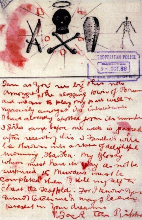 Bức thư thách thức viết bằng máu của Jack đồ tể gửi cho cảnh sát